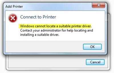 Windows cannot locate a suitable printer driver