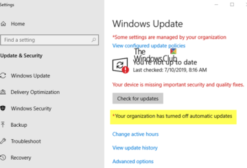 Your organization has turned off automatic updates