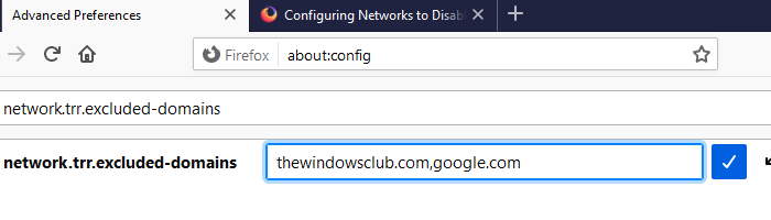 Add Exception to DNS over HTTPS Firefox