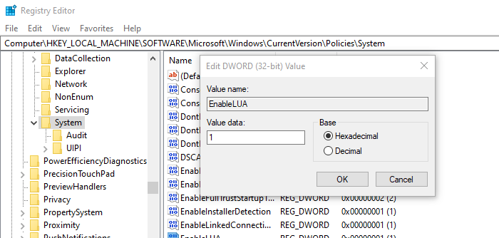 Change User Account Control Policy Registry Editor