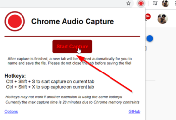 Record audio from the browser tab