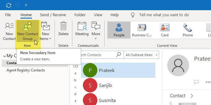 Create a Contact Group in Outlook for Office 365
