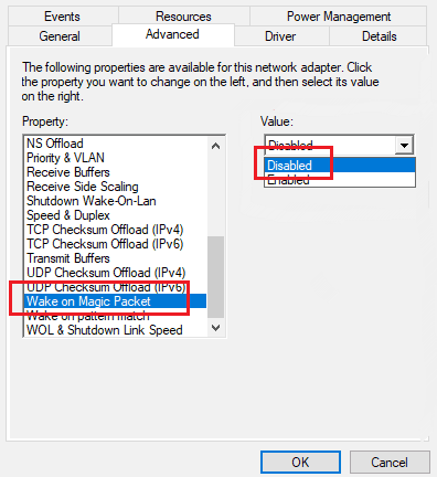 Disable Wake on magic packet