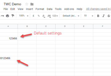 Enter zero before a number in Google Sheets and Excel