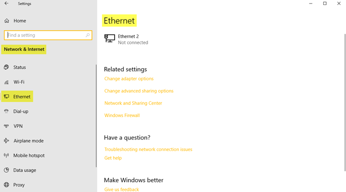 Network and Internet Settings in Windows 10
