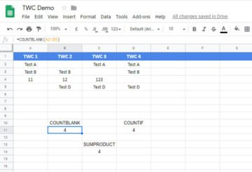 How to count blank or empty cells in Google Sheets and Excel