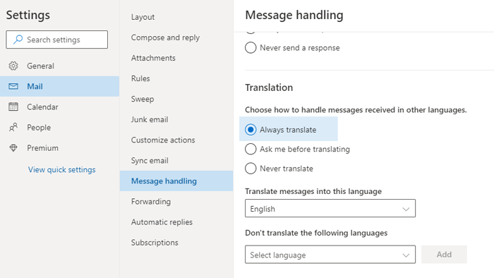 How to automatically translate Emails in Outlook.com