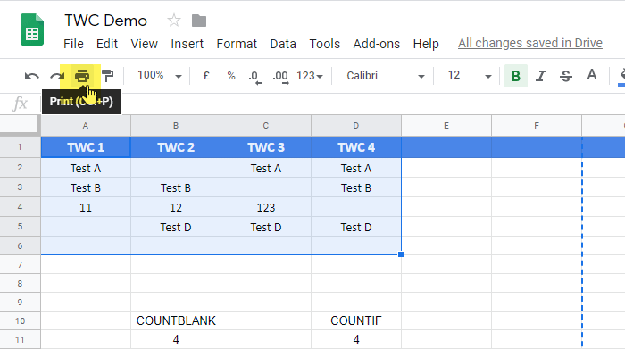 How to print selected cells in Google Sheets and Excel