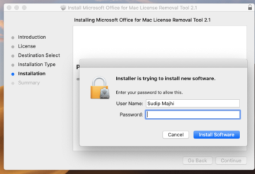 remove Office 365 license from Mac
