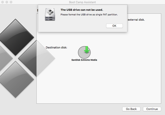 Please format the USB drive as single FAT partition: Boot Camp Assistant