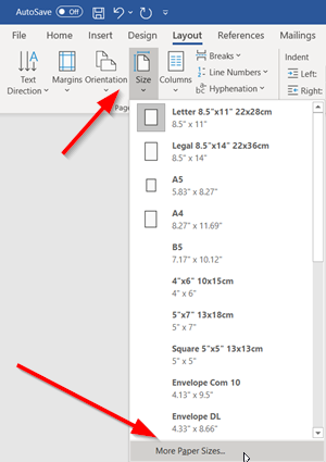 Paper size in Microsoft Word