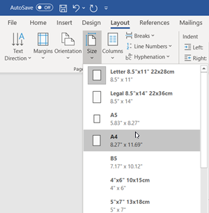 Change paper size in Microsoft Word