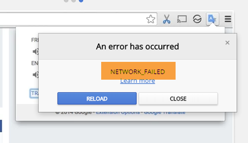 NETWORK_FAILED Chrome