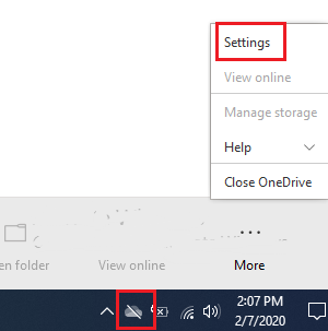 Onedrive settings