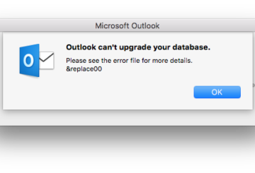 Outlook Cant upgrade your database