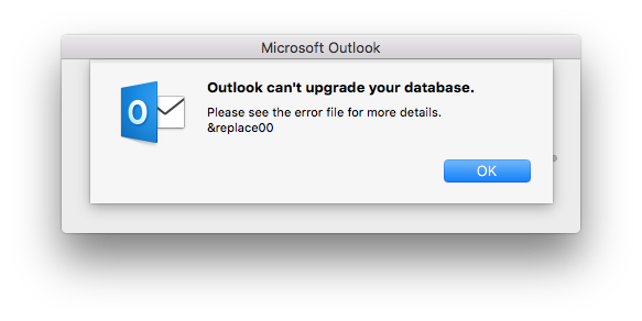 Outlook can't upgrade your database message on upgrade to PST recent version
