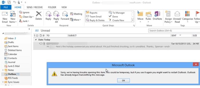 Send emails that are stuck in Outlook Outbox