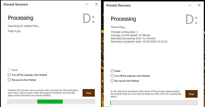 Overwriting of Files with Prevent Recovery