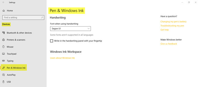 Device Settings in Windows 10