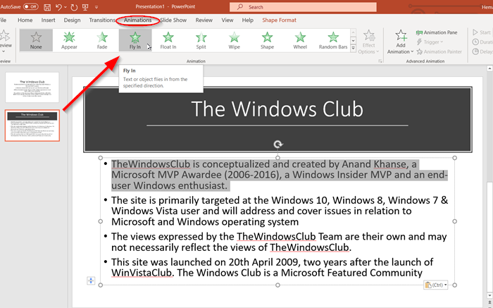 How to dim text in PowerPoint