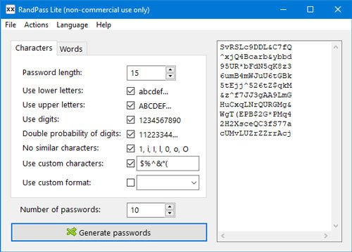 RandPass Lite password generator for PC