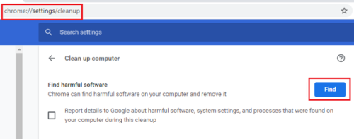 Run Google cleanup tool