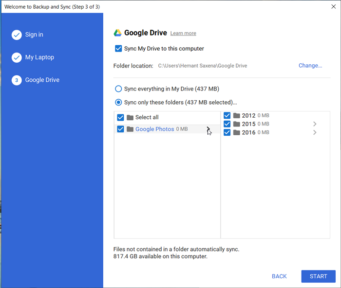 sync Google Drive and Google Photos