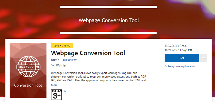 Webpage Conversion Tool Windows 10