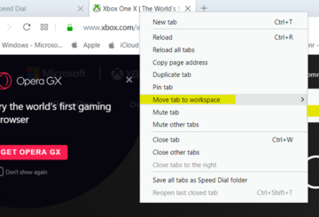 How to use Workspaces Tab Grouping feature in Opera browser