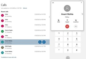 Your Phone Make Call using Dial Pad Windows