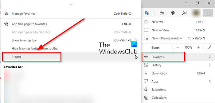 import Favorites and Bookmarks into Edge 1