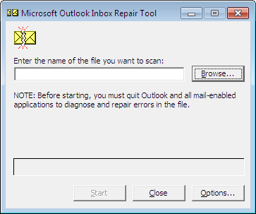 scanpst. exe dialog box