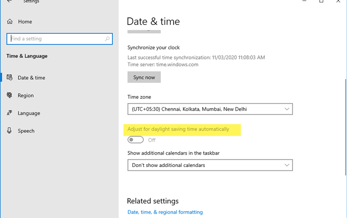 Adjust for daylight saving time automatically is grayed out