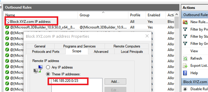 Block IP Address In Firewall App Windows