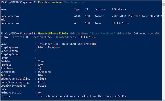 Block Website Domain using PowerShell