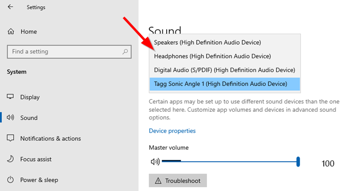 Change Audio Output Windows 10