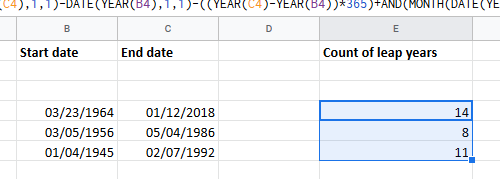 Count number of leap years between two dates in Excel