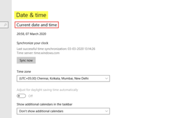 Time and Language Settings in Windows 10
