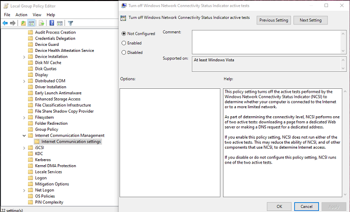 remove msftconnecttest redirect error via Group Policy