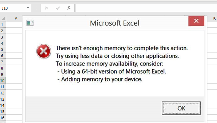 Excel: Out of Memory, Not enough System Resources to Display Completely