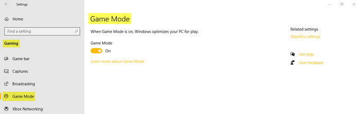 Gaming Settings in Windows 10