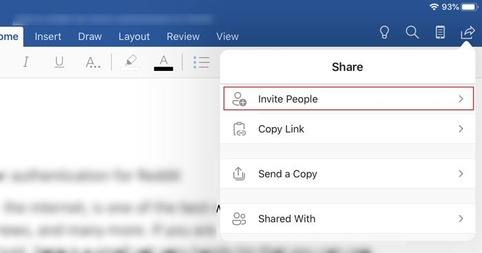 How to invite someone to edit Word document on iPad