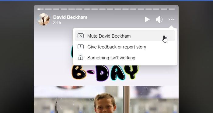 How to mute and unmute someone in Facebook Story