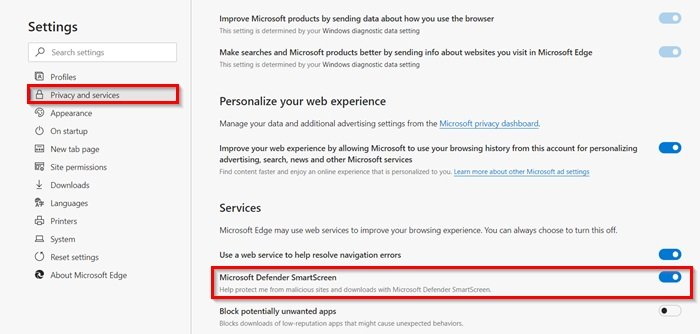 Privacy and Security Settings in Edge browser