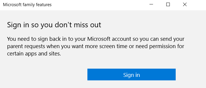 Microsoft Family Popup Sign-in