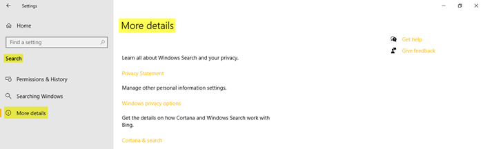 Search Settings in Windows 10