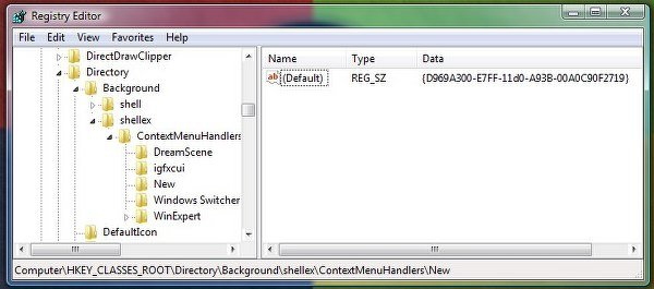NEW context menu missing in Windows