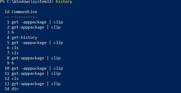 PowerShell Commands History