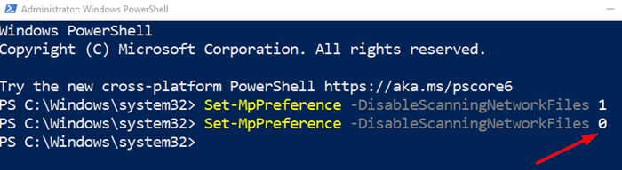 PowerShell Disable Scanning Network Files