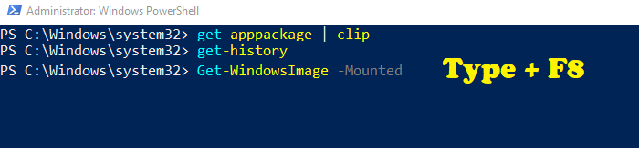 Search using F8 in PowerShell to search